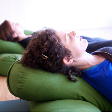 Relaxing at prenatal yoga